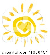 Royalty Free Vector Clip Art Illustration Of A Yellow Spiral And Heart Sun