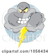Royalty Free Vector Clip Art Illustration Of An Evil Electrical Storm Cloud