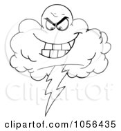 Royalty Free Vector Clip Art Illustration Of An Outlined Evil Lightning Storm Cloud