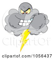 Royalty Free Vector Clip Art Illustration Of An Evil Lightning Storm Cloud