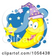 Royalty Free Vector Clip Art Illustration Of A Star By A Happy Crescent Moon Wearing A Night Cap Over Blue