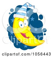 Royalty Free Vector Clip Art Illustration Of A Happy Crescent Moon Wearing A Night Cap Over Blue Stars