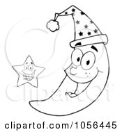 Royalty Free Vector Clip Art Illustration Of An Outlined Star By A Happy Crescent Moon Wearing A Night Cap