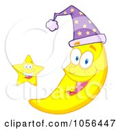 Royalty Free Vector Clip Art Illustration Of A Star By A Happy Crescent Moon Wearing A Night Cap