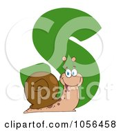 Royalty Free Vector Clip Art Illustration Of A Cheerful Snail With The Letter S