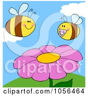 Chubby Baby Bee And Adult Bee Over A Flower On A Sunny Day