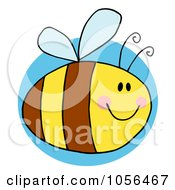 Pudgy Bee Over A Blue Circle