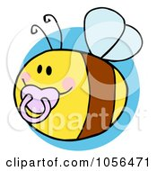 Royalty Free Vector Clip Art Illustration Of A Pudgy Baby Bee With A Pacifier Over A Blue Circle