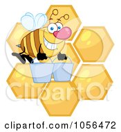 Royalty Free Vector Clip Art Illustration Of A Worker Bee Carrying Two Buckets Over Honey Combs