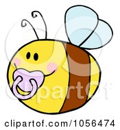 Royalty Free Vector Clip Art Illustration Of A Pudgy Baby Bee With A Pacifier