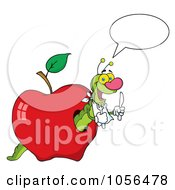 Royalty Free Vector Clip Art Illustration Of A Hungry Talking Worm In A Red Apple