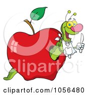 Royalty Free Vector Clip Art Illustration Of A Hungry Worm In A Red Apple