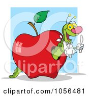 Royalty Free Vector Clip Art Illustration Of A Hungry Worm In A Red Apple Over A Blue Square