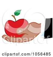 Royalty Free Vector Clip Art Illustration Of A Black Hand Holding A Red Apple