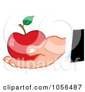 Royalty Free Vector Clip Art Illustration Of A Caucasian Hand Holding A Red Apple
