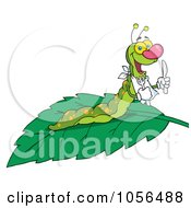 Royalty Free Vector Clip Art Illustration Of A Hungry Caterpillar With A Bib And Silverware On A Leaf