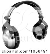 Royalty Free Vector Clip Art Illustration Of A 3d Pair Of Silver And Black Headphones by AtStockIllustration