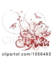 Royalty Free Vector Clip Art Illustration Of A Red Hibiscus Butterfly Vine And Grunge Design Element by AtStockIllustration
