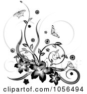 Royalty Free Vector Clip Art Illustration Of A Black And White Floral Vine Corner Design With Butterflies by AtStockIllustration
