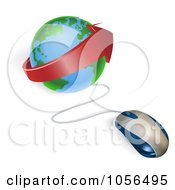 Royalty Free Vector Clip Art Illustration Of A 3d Computer Mouse Plugged Into A Globe With A Red Arrow