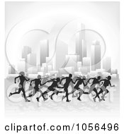 Royalty Free Vector Clip Art Illustration Of Silhouetted Runners Racing Through A City by AtStockIllustration