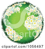 Royalty Free Vector Clip Art Illustration Of A Grassy Globe With Floral Continents
