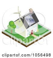 Royalty Free Vector Clip Art Illustration Of A 3d Sustainable Energy Home With Roof Solar Panels And A Wind Turbine by AtStockIllustration