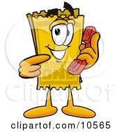 Clipart Picture Of A Yellow Admission Ticket Mascot Cartoon Character Holding A Telephone by Toons4Biz