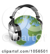 Royalty Free Vector Clip Art Illustration Of A 3d Globe With Headphones