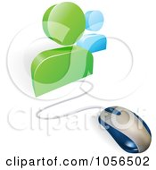 3d Computer Mouse Connected To Social Network Avatars