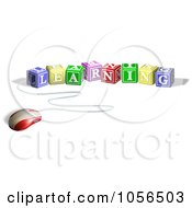 Royalty Free Vector Clip Art Illustration Of A 3d Computer Mouse Connected To Learning Letter Blocks by AtStockIllustration