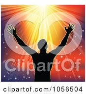 Royalty Free Vector Clip Art Illustration Of A Silhouetted Religious Man Holding His Arms Up To Sunshine