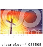 Royalty Free Vector Clip Art Illustration Of A Crucifix Against A Shining Colorful Sky