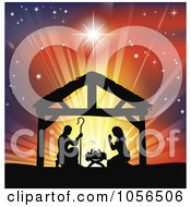 Royalty Free Vector Clip Art Illustration Of A Silhouetted Christian Christmas Nativity Scene Against A Colorful Shining Sky