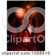 Royalty Free Vector Clip Art Illustration Of Three Sexy Silhouetted Women On Red by KJ Pargeter