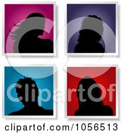 Royalty Free Vector Clip Art Illustration Of A Digital Collage Of Four Silhouetted Female Avatars