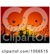 Royalty Free Vector Clip Art Illustration Of A Background Of Silhouetted Wheat And Butterflies At Sunset by KJ Pargeter