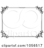 Royalty Free Vector Clip Art Illustration Of A Black And White Ornate Certificate Frame by KJ Pargeter