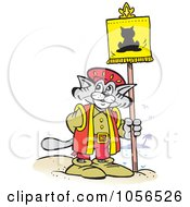 Royalty Free Vector Clip Art Illustration Of A Christopher Columbus Explorer Cat Posting A Flag