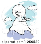 Royalty Free Vector Clip Art Illustration Of A Sad Moodie Character Standing On Top Of A Mountain