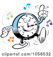 Royalty Free Vector Clip Art Illustration Of A Clock Rocking To Music