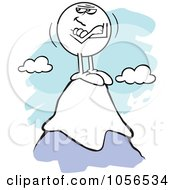 Royalty Free Vector Clip Art Illustration Of A Smug Moodie Character Standing On Top Of A Mountain