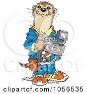 Royalty-Free Vector Clip Art Illustration of a Photographer Otter by Johnny Sajem