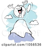 Royalty Free Vector Clip Art Illustration Of A Happy Moodie Character Standing On Top Of A Mountain