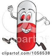 Royalty Free Vector Clip Art Illustration Of A Running Pill by Andrei Marincas