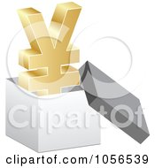 Royalty Free Vector Clip Art Illustration Of A 3d Golden Yen Symbol In A Box by Andrei Marincas