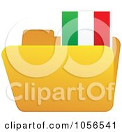 Royalty Free Vector Clip Art Illustration Of A Yellow Folder With An Italian Flag Tab