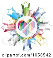 Royalty Free Vector Clip Art Illustration Of A Colorful Heart Poker Circle With Stars