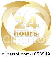 Royalty Free Vector Clip Art Illustration Of A Gold 24 Hours And Arrows Sign by Andrei Marincas