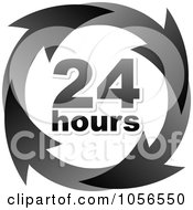 Royalty Free Vector Clip Art Illustration Of A Black 24 Hours And Arrows Sign